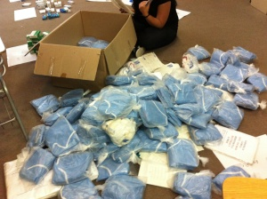 Medical supplies are being prepared at Santiago's Club Palestino for shipment to hospitals and medical clinics in Gaza.